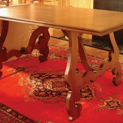 British Traditions - 5 Ft. Long Maple Dining Table w Large Adjustable Legs (Wild Blueberry) - Finish: Wild Blueberry. Each finish is hand painted and actual finish color may differ from those show for this product. Maple dining table. Large, flat, curlicue legs. No apron. Legs are adjustable. Minimal assembly required. Clearance under top: 28.25 in. H. 60 in. L x 38 in. W x 30 in. H (162 lbs.)The Lucca Maple table has adjustable legs to better fit your space.