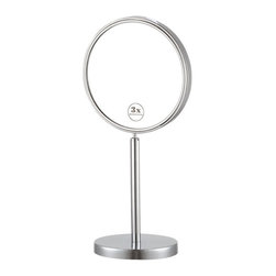 Nameek's - Double Sided 3x Magnifying Makeup Mirror - This round table top mirror is a double face magnifying mirror with an 8 inch width. It features 3x magnification and is made from high quality brass. The mirror features an Italian design and contemporary style.