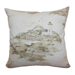 """The Pillow Collection - Zamiana Toile Pillow Creme 20"""" x 20"""" - This throw pillow is scenic and gorgeous with its toile print pattern. A lovely scene is depicted in brown hues and set against a creme background. This accent pillow is perfect for casual and formal settings. This decor pillow is a great piece to add life to your space. This square pillow is made from 100% soft cotton fabric. Hidden zipper closure for easy cover removal.  Knife edge finish on all four sides.  Reversible pillow with the same fabric on the back side.  Spot cleaning suggested."""