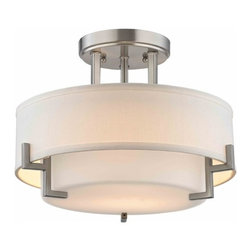 Design Classics Lighting - Modern Ceiling Light with White Glass in Satin Nickel Finish - 7014-09 - Contemporary / modern satin nickel semi-flushmount ceiling light with an inner satin white glass shade and outer white linen drum shade. Takes (2) 100-watt incandescent A19 bulb(s). Bulb(s) sold separately. UL listed. Dry location rated.