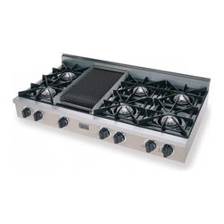 """FiveStar - TTN-048-7 48"""" Open Burner Pro-Style Gas Rangetop With 6 Open Burners  Vari-Flame - The FiveStar 48 cooktop comes standard with six open or sealed Ultra High-Low burners and a Lodge cast iron griddle Add the Lodge cast iron griddlegrill for even greater versatility Choose from side and rear trim kits for flawless installation"""