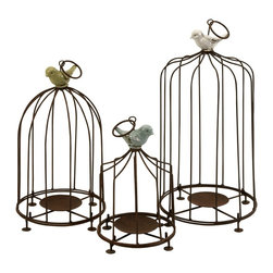 iMax - iMax Louise Birdcage Candleholders - Set of 3 X-3-03181 - Add some cheer to garden decor with these fun birdcage pillar candleholders. Iron bars and candle base are topped with brightly colored birds. Set of 3.