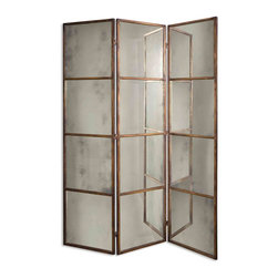 Uttermost - Avidan 3 Panel Antiqued Mirror Screen With Metal FrameGrace Feyock Collection - This mirrored screen features a metal frame finished in heavily antiqued gold.