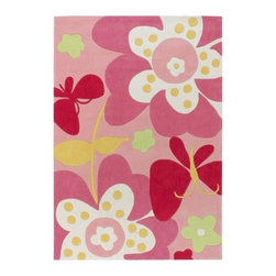 Surya - Chic CHI1007 Poly-Acrylic Rug in Pink Tones w Flowers & Butterflies (4 ft. 10 in - Size: 4 ft. 10 in. x  7 ft.. Hand tufted. Made from 100% Poly Acrylic