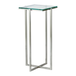 "Adesso - Glacier End Table - The smooth architectural design of the Glacier collection will provide any room with minimalist detail. The .25'' tempered clear glass top and the satin steel legs and frame create a very cool, sleek look. The base forms a criss cross adding to the simple architecture of the pedestal. This medium pedestal is perfect to place beside a chair or bed. Features: -Glacier Medium Pedestal.-Satin steel legs and frame.-Collection: Glacier.-Base Finish: Satin steel.-Distressed: No.-Powder Coated Finish: No.-Gloss Finish: No.-Base Material: Metal.-Top Material: Glass.-Solid Wood Construction: No.-Hardware Material: Stainless steel.-Nesting Tables: No.-Non-Toxic: No.-UV Resistant: No.-Scratch Resistant: No.-Stain Resistant: No.-Lift Top: No.-Storage Under Table Top: No.-Drop Leaf Top: No.-Magazine Rack: No.-Built In Clock: No.-Drawers Included: No.-Hardware Finish: Brushed steel.-Exterior Shelves: No.-Cabinets Included: No.-Glass Component: Yes -Tempered Glass: Yes.-Beveled Glass: No.-Frosted Glass: No..-Casters: No.-Lighted: No.-Stackable: No.-Reclaimed Wood: No.-Adjustable Height: No.-Outdoor Use: No.-Swatch Available: No.-Commercial Use: Yes.-Recycled Content: No.-Product Care: Wipe clean with a dry cloth.-Built In Outlets: No.-Powered: No.Specifications: -General Conformity Certificate: No.-Green Guard Certified: No.-UL Listed: No.Dimensions: -.25'' Tempered clear glass top.-Overall Width - Side to Side: 12.5"".-Overall Depth - Front to Back: 12.5"".-Drawer: No.-Cabinets: No.-Legs: No.Assembly: -Assembly Required: Yes."