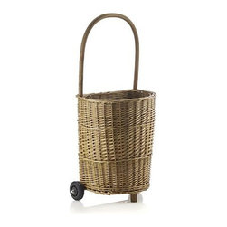 Wicker Utility Trolley - Timeless wicker appeal on wheels. Handwoven of willow with a wood frame for stability, our rolling trolley is a beautiful, natural alternative for toting garden tools or fresh-cut flowers, farmer's market produce, crafts or laundry.