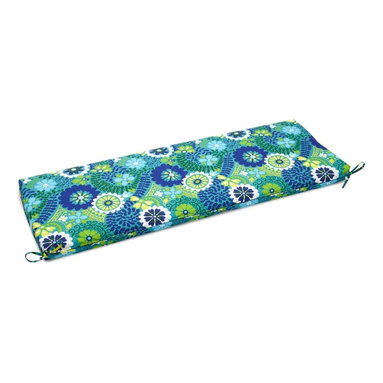 Blazing Needle Designs - Cushion for 3-Seater Outdoor Bench (Skyworks Caribbean) - Fabric: Skyworks Caribbean. Standard patio size cushion. All weather resistant and UV light fading protection. Dacron insert. Washable once the Dacron insert is taken out of the cushion. 48 in. W x 19 in. H