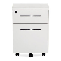 Jesper - Jesper - 500 Collection - 2 Drawer Mobile Pedestal - White Lacquer - Versatile and functional, this Collection complements nearly any contemporary office setting, bringing visual unity and calm. A simple set of elements can be combined in nearly limitless ways creating an advanced system that allows you to work individually or collectively. Versatile workstations can be designed in a variety of spaces and they offer the kind of technological integration needed in the modern workplace today.