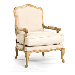 Bastille Lounge Chair - Natural Oak with Natural Linen - Wide and stately to serve as a graceful new focal point for your seating area, the Bastille Lounge Chair is a sophisticated designer armchair crafted with traditional feather and fiber filling for classic comfort.  Inspired by French furniture but made lower and more generous for easy relaxation, the cabriole-legged living chair has a deep, welted cushion on an upholstered seat.