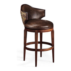 Frontgate - Nicholson Low Back Bar Stool - Handcrafted hardwood frame. 180-degree return swivel with lifetime guarantee. Brass-plated footrest. Nonmarring floor glides. Arrives assembled. Featuring a unique, low profile backrest, Nicholson provides a clear vista across the room. The seatback and cushion are upholstered in rich, top-grain leather, and the back exterior is covered in coordinating fabric. . . . . . Transitional styling complements most decor.