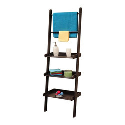 River Ridge - Ladder Shelf in Espresso Finish - Handy, sturdy ladder style shelving with towel bars. Securely attaches to wall. Each Shelf holds up to 12 pounds. Made from painted MDF and wood composite. Assembly required. 20 in. W x 12 in. D x 59.25 in. H (17 lbs.)Used in other areas of the home for extra storage space. RiverRidge Home offers three shelves and two towel bars.