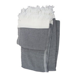 Used Gray & White Turkish Towel Set - This gray & white turkish towel is just what you need for a chic bathroom experience. Pair with subway tile for the hottest room in the house!