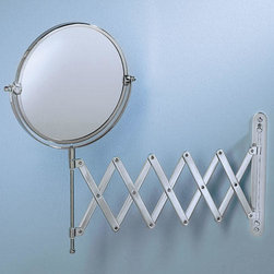Round Accordion Vanity Mirror - This vanity mirror has a regular reflection on one side and magnified on the other. It is attached to an extendable arm and easily mounts onto the wall.