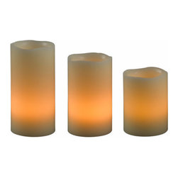 Kenroy Home - Kenroy Home 32169 Remote LED Candle Set in Cream Finish - Kenroy Home 32169 Remote Candle Set in Cream FinishThis 3 piece set contains a 6, 5, and 4 inch candle lit with a convenient remote control . Use LED candles on windowsills, on book shelves, in bedrooms, on mantles and patio tables, wherever natural looking, warm candle glow is desired.Kenroy Home 32169 Features: