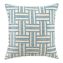 DL Rhein Basket Weave Peacock Embroidered Pillow - Here is a modern twist on a traditional basket weave patterned pillow. This pillow measures 20-inches by 20-inches and adds a playful feel.
