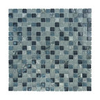 "Glass Tile Oasis - Steel Gray Frost Textured Stone Blend 5/8"" x 5/8"" Grey Crystile Blends Glossy & - Sheet size:  12"" x 12"".        Tile Size:  5/8"" x 5/8""        Tiles per sheet:  324        Tile thickness:  1/4""        Grout Joints:  1/8""        Sheet Mount:  Mesh Backed        Sold by the sheet        -   Our Crystile Series offers a wide range of hues to suit your mood and your style! The vibrancy and depth of our crisp smooth glass results in a unique and dramatic effect for use in both residential and commercial installations.    The Crystile Series is virtually limitless in its range of applications and is suitable for the following walls backsplashes and any area just waiting to be transformed by light and color! Our sheets of mesh-mounted glass can be used to produce and endless variety of field patterns borders and medallions. This Series is ideal for use alone or as an exquisite complement to ceramic and natural stone materials. Let creativity be your guide. Crystile tiles are are easy to clean and maintain. Our tiles will never discolor and will continue to provide a smooth and luxurious appearance for many years to come."