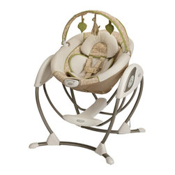 Graco - Graco Glider LX - Raffy Multicolor - 1855760 - Shop for Baby Swings from Hayneedle.com! Your baby will enjoy the gentle rocking motion of the Graco Glider LX - Raffy. Designed to mimic the same gentle motion you use when cuddling and comforting your baby your nursery glider your little one will love the familiar feel and cozy environment this swing duplicates. With two vibration settings a roomy seat a removable plush body support three recline positions and music you'll be able to find the perfect combination to soothe your child. The frame is made to use 40% less space than other leading swings so it can fit easily in almost any room in your home. Additional Features 3 recline positions Plays music for your baby's entertainment About GracoWhen Russell Gray and Robert Cone joined forces in 1942 baby products were not their focus. The pair originally formed Graco Metal Products in Philadelphia Penn. The firm manufactured machine and car parts for local manufacturers for 11 years. Gray left in 1953 leaving Cone as sole owner and Cone got the idea to manufacture baby products from a Graco employee David Saint father of 9. Inspired by the idea of Mrs. Saint soothing her babies on the backyard glider the Graco Swyngomatic was born. The Swyngomatic sold millions catapulting Graco to become a leader in manufacturing juvenile products in the process. Since then Graco has set the industry standard with products like the Pack N' Play and the Travel System. Graco is one of the world's best known and most trusted juvenile products companies. Product safety quality reliability and convenience are their main sources of pride and are recognized by parents and parenting authorities alike.