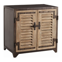 Arteriors - Lyon Cabinet - Designer Lisa Luby Ryan buys every shutter she can find when traveling overseas so she can make cabinets like this for her clients and her store. These solid wood doors and natural iron sides, top and back are finished to look like the originals. Great as a nightstand.