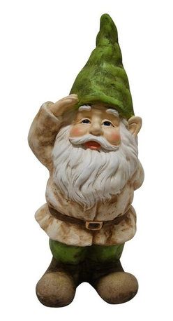 Alpine - Gnome Saluting Statue - Add a fun look to your landscape with these delightful garden statuaries. You can group them in your walkway, garden and pond or use individually around your deck or patio. These unique figures are made with the precision of fine detailed craftsmanship to make a one of a kind product.Features: