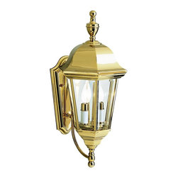 "KICHLER - KICHLER 9439PB LifeBrite Transitional Outdoor Wall Sconce - This collection takes the classic lines of outdoor lanterns and dresses it up in style. Each piece in the collection features Kichler's exclusive LifeBrite Polished Solid Brass, which is guaranteed for a lifetime to look fantastic while being capable of withstanding the harshest elements no matter where you live. Clear beveled glass panels complete the outdoor lanterns' timeless profile. This 2-light wall lantern uses 60-watt (max.) bulbs, is 20"" high, and is U.L. listed for wet locations."