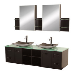 Wyndham Collection - Wyndham Collection Avara 72-inch Espresso  Double Bathroom Vanity Set - The Avara is the perfect centerpiece to any master bathroom suite. Featuring soft close hinges and soft close drawer guides,you will never hear a door or drawer slam shut again.