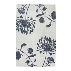 Mohawk Home - Woodgrain Natural Field Ivory Floral 8' x 10' Mohawk Rug (11758) - Simple and understated this spring inspired design, features hues of blue and ivory.Action Backing