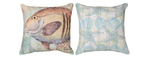 Manual - Pair of Boho Coastal Striped Fish Print Indoor / Outdoor Throw Pillows - This pair of 18 inch by 18 inch woven throw pillows adds a wonderful accent to your home or patio. The pillows have ClimaWeave weatherproof exteriors, that resist both moisture and fading. The pillows have a striped fish print on the fronts, and a Bohemian style nautical print on the backs. They have 100% polyester stuffing. These pillows are crafted with pride in the Blue Ridge Mountains of North Carolina, and add a quality accent to your home. Original artwork by Susan Winger. They make great gifts for ocean lovers.