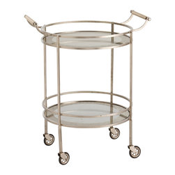 Wade Polished Nickel/Glass Bar Cart - An antiqued mirror border rings circles of clear glass that form the two shelves of this transitional bar cart.  Antiqued silver rails and legs surround it for a versatile look, while four casters and a pair of handles enhance the utility.  The Wade Bar Cart can become a frequent entertainer's best friend or serve a family for easy movement from indoor to outdoor dining.  Additionally, it is both an attractive furnishing and a practical surface, whether used in the dining room, the bath, or the living room.