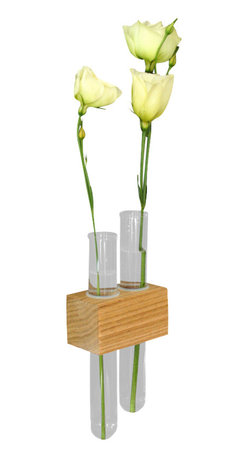 Moss + Twig - Magnetic Flower Bud Vase - This test tube bud vase is set into a solid wood base and is perfect for decorating. 2 super strong magnets in the back allows you to hang this sturdily on your fridge or anywhere with a metal surface. You can adjust the height of each vase by moving the silicone holding ring.