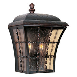 Maxim Lighting - Maxim Lighting Orleans Traditional Outdoor Wall Sconce X-IOSA49403 - This Maxim Lighting Orleans Traditional Outdoor Wall Sconce has a fresh, country-inspired design. It features a beautiful frame in a rich and warm, oil rubbed bronze finish with panels of amber seedy glass. It's a stunning, two-light piece that will certainly gain praise and admiration from anyone who sees it hanging on your wall.