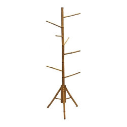 """Bamboo54 - Bamboo Tree Rack - Utility bamboo rack that is suitable for scarf, hats, jewelry and more. Measures 67"""" H x 15"""" Dia base with 8 hanging arms. Some assembly required."""