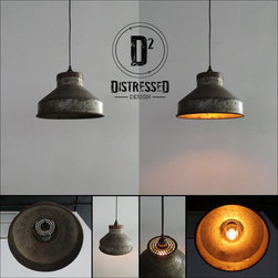 Pendant Lighting - This pendant light is made from a repurposed milk can. It would be right at home in any country style home, or make an impact in an industrial style space. The glow from the Edison bulb really highlights the age and patina of the funnel, and the perforated top creates an amazing light effect on the ceiling. All mounting hardware and repurposed canopy are included. If you prefer to have the light with a 110v plug, we can accommodate this as well.