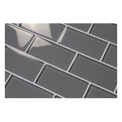 Rocky Point Tile - Pebble Grey 3 x 6 Glass Subway Tiles, 3 X 6 Sample Swatch - A medium gray. We get a lot of people asking for a true gray. This is probably as close as you get. A great choice for your kitchen backsplash! These tiles are sold loose packed giving you the option to arrange them in the pattern of your choice.