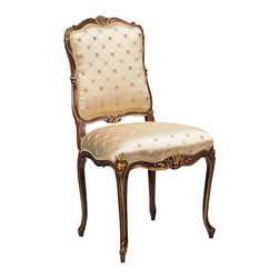 "Inviting Home - Louis XV Style Upholstered Side Chair - Louis XV style carved beechwood side chair; seat is 21-1/2""W x 21-1/2""D x 20-1/2""H; back is 41""H; ; hand-crafted in Italy; Louis XV style carved beech wood upholstered chairs in antiqued satin wood finish with antiqued gold leaf accents. Chairs have beige patterned upholstery. These upholstered chairs are made in Italy."