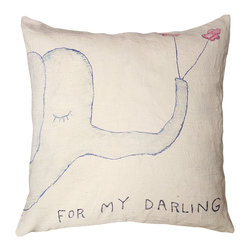 Kathy Kuo Home - For My Darling Elephant Drawing Large Down Throw Pillow - Don't forget to add a little whimsy to your home decorating scheme. This poetic pachyderm would look darling in a nursery — or add it to your living space for a shot of sweetness and fun.