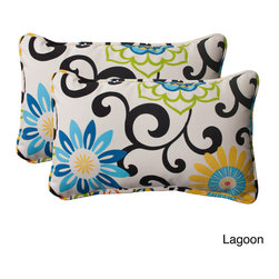 Pillow Perfect - Pom Pom Play Corded Rectangular Throw Pillows (Set of 2) - Add fresh patterns and a pop of color to your indoor or outdoor furniture with these corded rectangular throw pillows. The decorative pillows have a durable sewn seam and are resistant to weather fading.