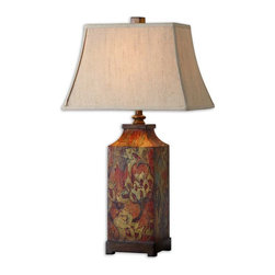 Uttermost - Uttermost Colorful Flowers Table Lamp in Burnished Walnut - Shown in picture: Colorful Flower Print With Burnished Walnut Finished Details. Colorful flower print with burnished walnut finished details. The rectangle bell shade is an ivory linen fabric.