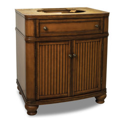 """Hardware Resources - Lyn Design VAN029-NT - This 30"""" wide MDF vanity has simple beadboard doors and curved shape to accent the traditional cottage feel. The Walnut finish is created by hand, making each vanity unique. A large cabinet, fully functional top drawer fitted around plumbing and interior pull-out drawer, equipped with ball bearing slides, provide ample storage. Overall Measurements: 30"""" x 21-1/2"""" x 34-1/4"""" (measurements taken from the widest point)"""