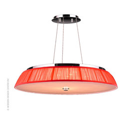 Worldwide Lighting Alice Pendant W83953C28-RD - Worldwide Lighting Alice Collection 21 Light Chrome Finish and Clear Crystal LED Pendant Light with Red String Shade