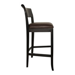 Noir - York Barstool - Crafted the old-fashioned way, emphasize a natural yet unique aesthetic that is sure to add a touch of old-world charm to any décor. The collection of home furnishings has a timeless feel with a contemporary flare. All finishes are hand applied using high quality lumbers from well-known suppliers giving them a one-of-a-kind appeal. The sleek and streamline silhouette of the York Barstool combined with the hand rubbed black finish and dark leather upholstery will give a luxurious feel to a room. Features: -Hand rubbed black finish. -Solid mahogany wood construction. -Leather fabric.