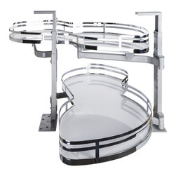 Hardware Resources - Blind Corner Swing Out  Right Handed Unit.  21 Opening - Blind Corner Swing Out  Right Handed Unit. Minimum 21 opening for Frameless or Face Frame Cabinets. White laminated non slip shelves with Chrome edging  ships complete with installation instructions.