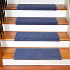 "Dean Flooring Company - Dean Peel and Stick Non-Skid Bullnose Wraparound Carpet Stair Treads 30""W, Miche - Bullnose Peel and Stick Wraparound Non-Skid Carpet Stair Treads!"