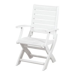 POLYWOOD® Signature Folding Chair - Boast your refined sense of style with the POLYWOOD Signature Folding Chair on your deck, patio or garden space. Constructed from 90% recycled materials and set to a high-quality aluminum frame, this durable HDPE polywood folding chair is designed to endure harsh weather conditions without splintering, cracking, chipping, peeling or rotting, for years of adorning your home tastefully.Crafted for comfort as well as style, this sleek patio folding chair features a classic slatted alfresco design with wide set armrests and an smooth backrest. The polywood lumber construction eliminates the need for painting, staining or waterproofing and makes for an easy-to-sleep surface that wipes dry. For convenient storage, this chair folds away easily. Choose from a variety of colors for the seat that best complements your home.About Poly-WoodThe advantages of Poly-Wood Recycled Plastic are hard to ignore. Poly-Wood absorbs no moisture and will NOT rot, warp, crack, splinter, or support bacterial growth. Poly-Wood is also compounded with permanent UV-stabilized colors, which eliminates the need for painting, staining, waterproofing, stripping, and resurfacing. This material is impervious to many substances, including salt water, gasoline, paint, stains, and mineral spirits. In addition, every Poly-Wood product comes with stainless steel hardware.Poly-Wood is extremely easy to clean and maintain. Simple soap and water is all you need to get rid of dirt and make your furniture look new again. For extreme cleaning needs, you can use a 1/3 bleach and water solution. Most Poly-Wood furnishings are available in a variety of classic colors, which allow you to choose your favorite or coordinate with the furniture you already have. This is sure to be a piece that you will be proud to own for a lifetime.