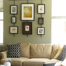 Contemporary Artwork Yellow and black family room