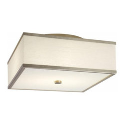 Hart Lighting - Corona 17 White Linear Square Flush Mount - Corona 17 White Linear Square Flush Mount with 1161 shade and 1004/1004INC ceiling pan.
