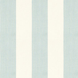 """Ballard Designs - Suzanne Kasler Signature 13oz Linen Sky & Blanc Stripe Fabric by the Yard - Content: 100% Linen. Repeat: Non-railroaded fabric, 8.9"""" repeat. Care: Dry Clean. Width: 56"""" wide. Luxurious 13 oz. linen with soft, thick & elegant drape.  .  .  .  . Because fabrics are available in whole-yard increments only, please round your yardage up to the next whole number if your project calls for fractions of a yard. To order fabric for Ballard Customer's-Own-Material (COM) items, please refer to the order instructions provided for each product.Ballard offers free fabric swatches: $5.95 Shipping and Processing, ten swatch maximum. Sorry, cut fabric is non-returnable."""