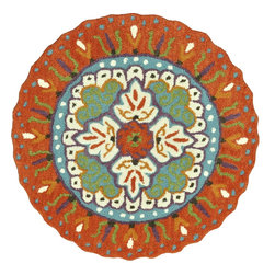 Loloi Rugs - Loloi Rugs Gardenia Collection - Orange / Ivory, 3' Round - Like a vase of flowers in full boom, Gardenia adds a little pop of color that brings life to your entire home. Hand-tufted in India of 100% wool, Gardenia comes in lovely, easy-to-place 3 foot round rugs with cute shaped borders - perfect for refreshing the kitchen, entryway, bedroom, bathroom, or just any area in need of a colorful pick-me-up.