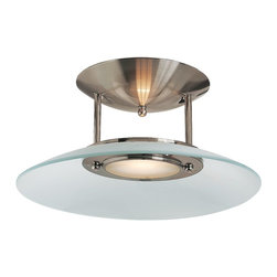 Access Lighting - Access Lighting Argon Contemporary Semi Flush Mount Ceiling Light X-TSF/SB-15405 - This Argon contemporary semi flush mount ceiling light by Access Lighting has a frosted glass shade that creates a perfectly diffused light. Its sleek, brushed stainless steel finish and clean lines add to its contemporary look and feel and makes it a great choice for most any room in your home.