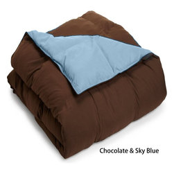 Bed Linens - All Season Down Alternative Reversible Comforter Twin/Twin XL Chocolate/Sky Blue - This hypoallergenic down-alternative reversible comforter keeps you warm withoutweighing you down. It's a super-comfy way to enjoy the quality sleep you deserve.Comforter available in four sizes!