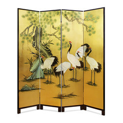 China Furniture and Arts - Hand Painted Gold Leaf Floor Screen - Crane and the pine tree, the symbol of peace and longevity in Chinese culture are here exquisitely hand-painted on gold-leafed four-panel of wood. Perfect to display in living room or dining room. Gold bamboo trees are softly painted on the back against black background.